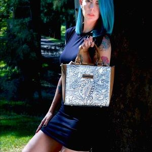Isa silver hand painted crossbody and purse